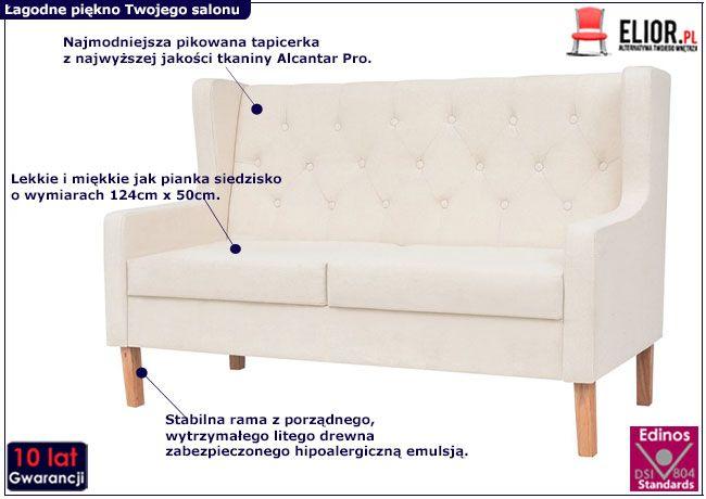 Dwuosobowa sofa Isobel 2C kremowobiała
