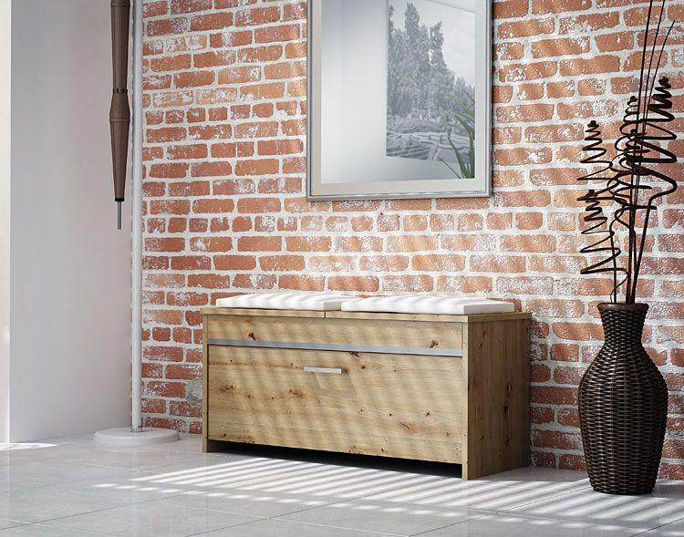 Szafka na buty z tapicerowanym siedziskiem dąb artisan Leni 3X