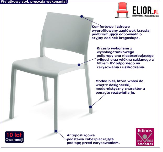 Nowoczesne krzesło Salmo - białe