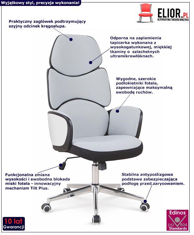 Designerski fotel gabinetowy Misti - szary