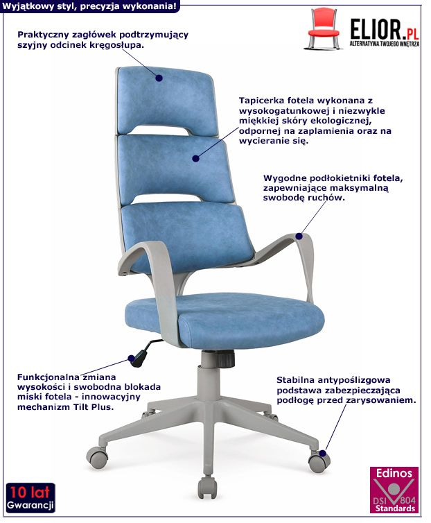 Stylowy fotel gabinetowy Dunik - niebieski