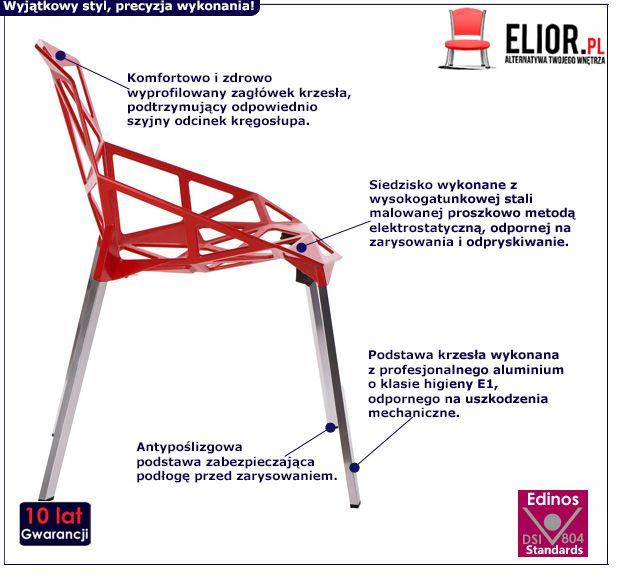 Awangardowe krzesło Breto - czerwone