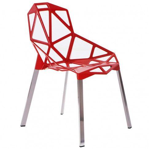 Zdjęcie produktu Stylowe krzesło Breto - czerwone.