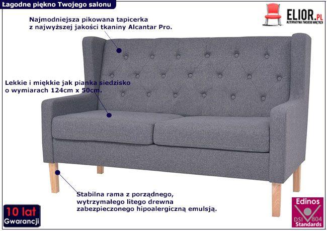 Dwuosobowa sofa Isobel 2G szara
