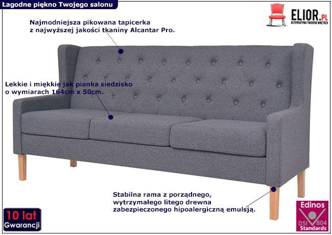 Trzyosobowa sofa Isobel 3G szara