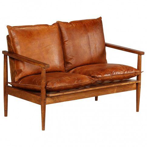 Zdjęcie produktu Elegancka skórzana sofa Stera - brązowa.