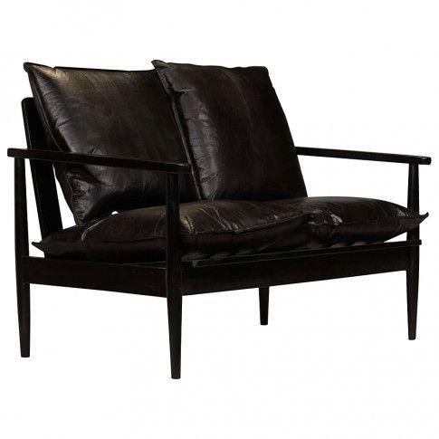 Zdjęcie produktu Elegancka skórzana sofa Stera - czarna.
