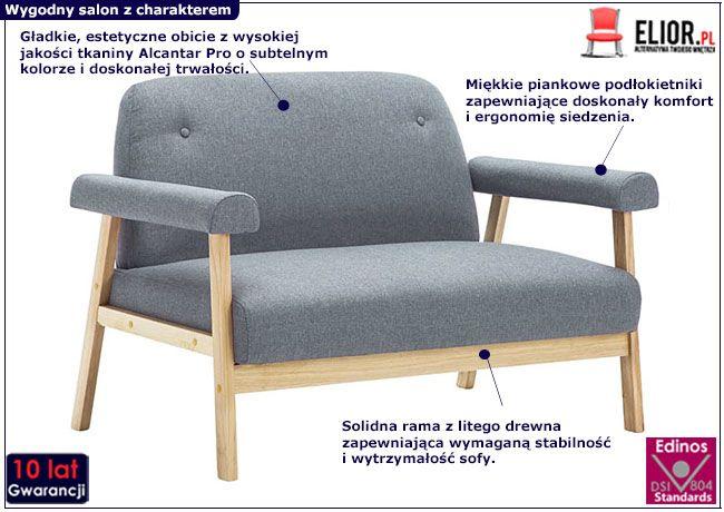 Jasnoszara sofa Eureka 2G