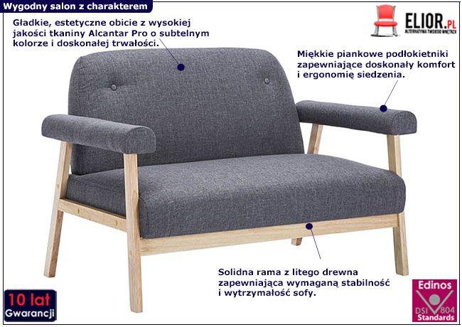 Ciemnoszara sofa Eureka 2D