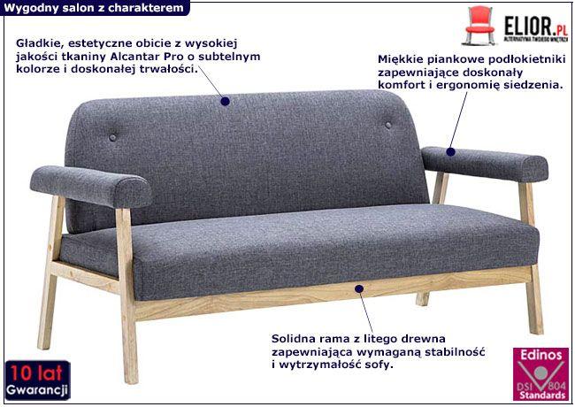 Ciemnoszara sofa Eureka 3D