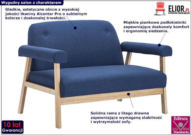 Granatowa sofa Eureka 2B