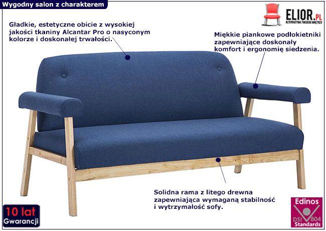 Granatowa sofa Eureka 3B