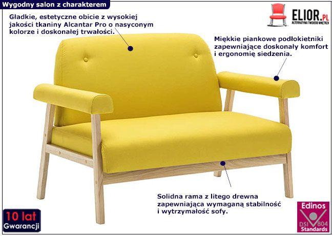Żółta sofa Eureka 2Y