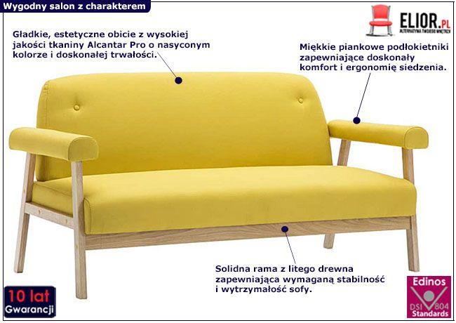 Żółta sofa Eureka 3Y