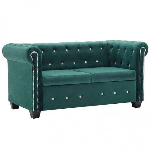 Zdjęcie produktu Aksamitna sofa w stylu Chesterfield Charlotte 2Q - zielona.