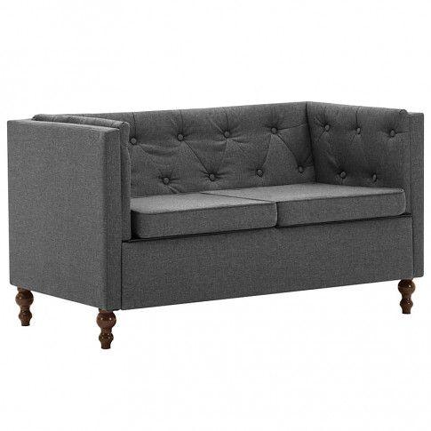 Zdjęcie produktu 2-osobowa Sofa James 2Q w stylu Chesterfield - ciemnoszara.