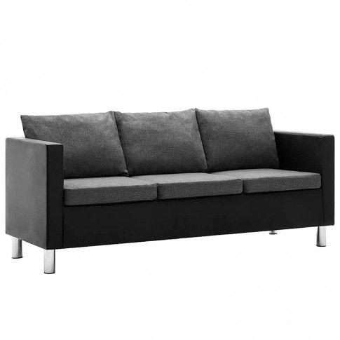 Zdjęcie produktu Atrakcyjna 3-osobowa sofa Karlo 3Q - czarno-jasnoszara.