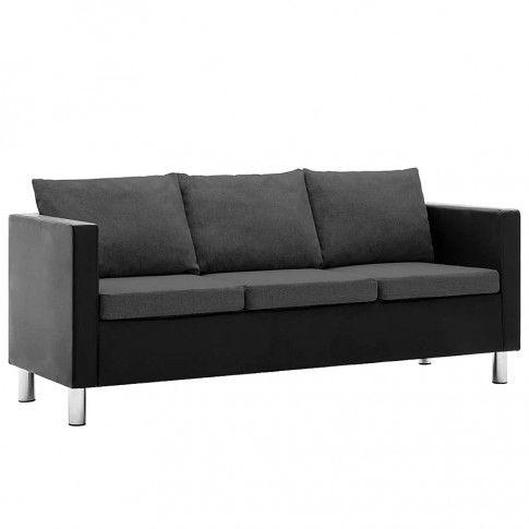 Zdjęcie produktu Atrakcyjna 3-osobowa sofa Karlo 3Q - czarno-ciemnoszara.