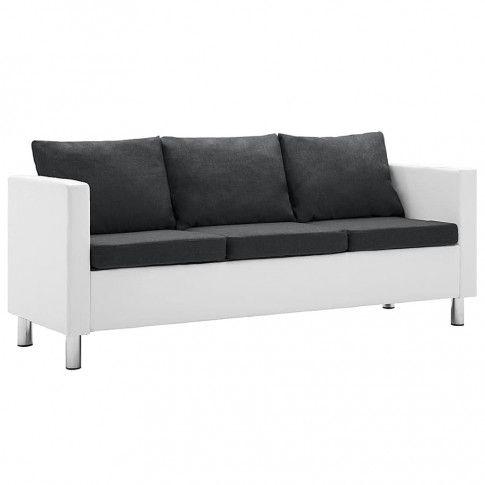 Zdjęcie produktu Atrakcyjna 3-osobowa sofa Karlo 3Q - biało-ciemnoszara.
