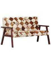 2-osobowa  sofa  Lima z naturalnej koziej skóry – biało-brązowa