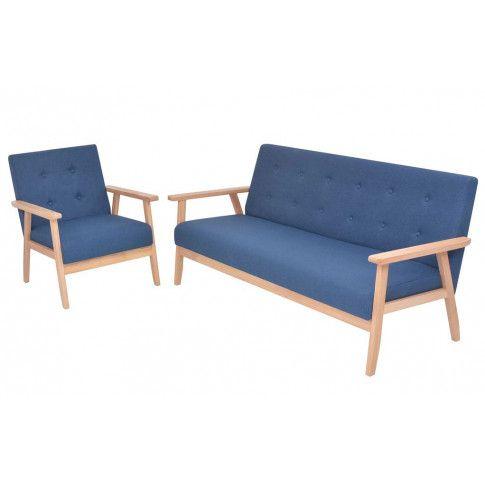 Zdjęcie produktu Tapicerowany zestaw wypoczynkowy Edris 2X - Niebieski.