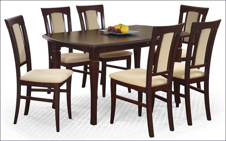 Stół Lister orzech - wizualizacja z krzesłami.
