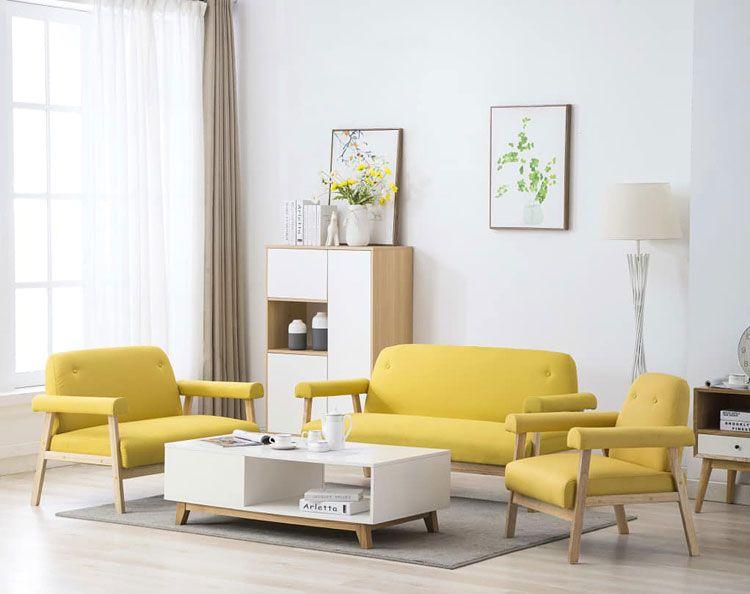 Drewniany zestaw wypoczynkowy w stylu vintage Eureka 2X żółty