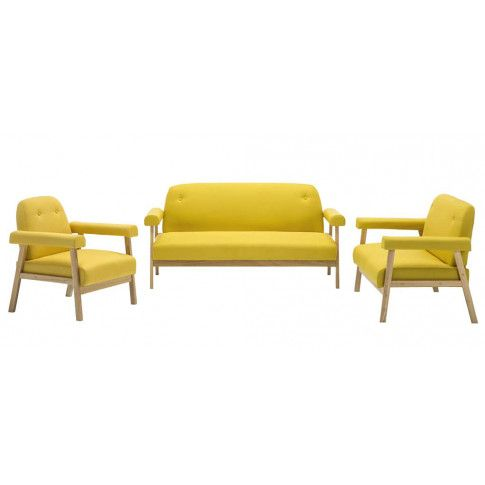Zdjęcie produktu Drewniany tapicerowany zestaw wypoczynkowy Eureka 2X - Żółty.