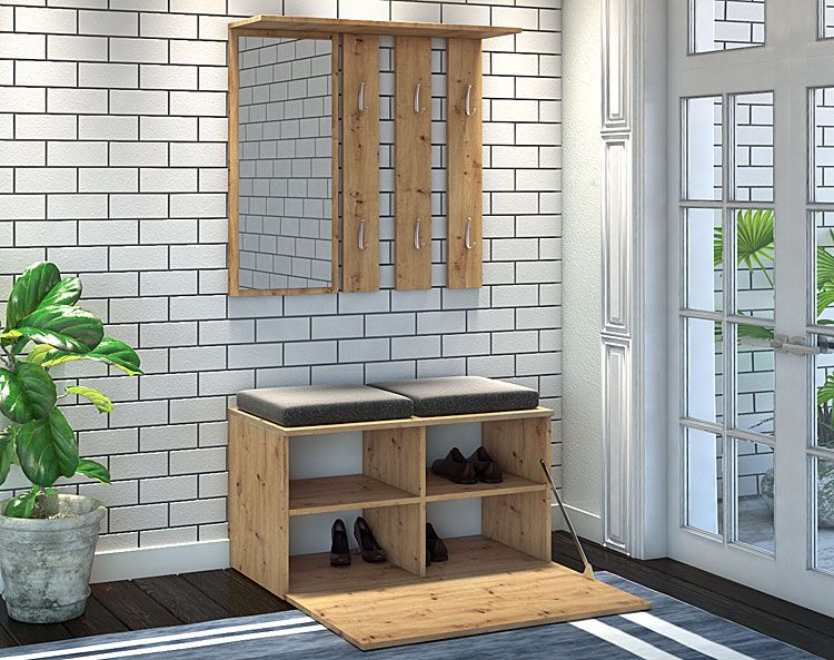 Garderoba z siedziskiem, lustrem i wieszakiem dąb artisan Malea