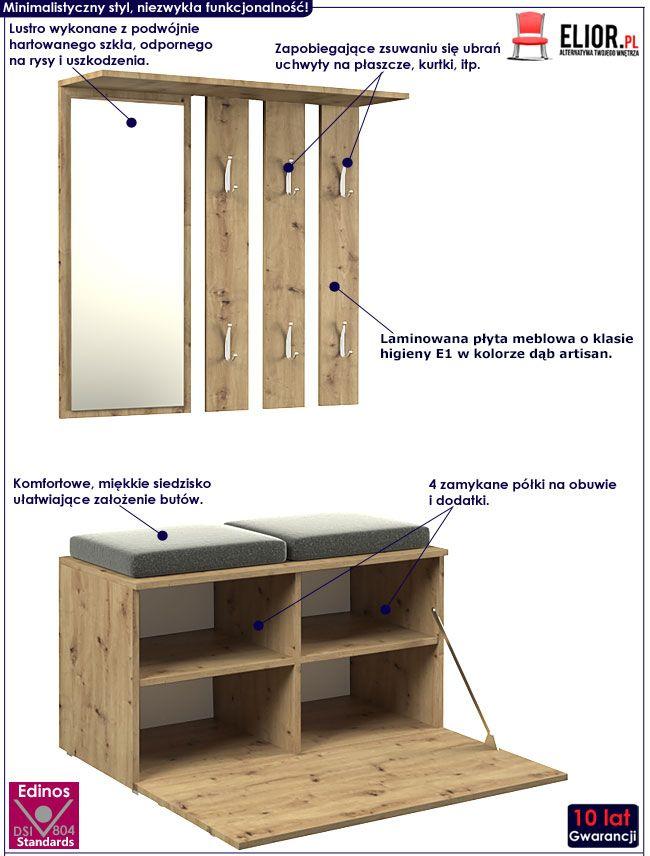 Loftowa garderoba do przedpokoju dąb artisan Malea