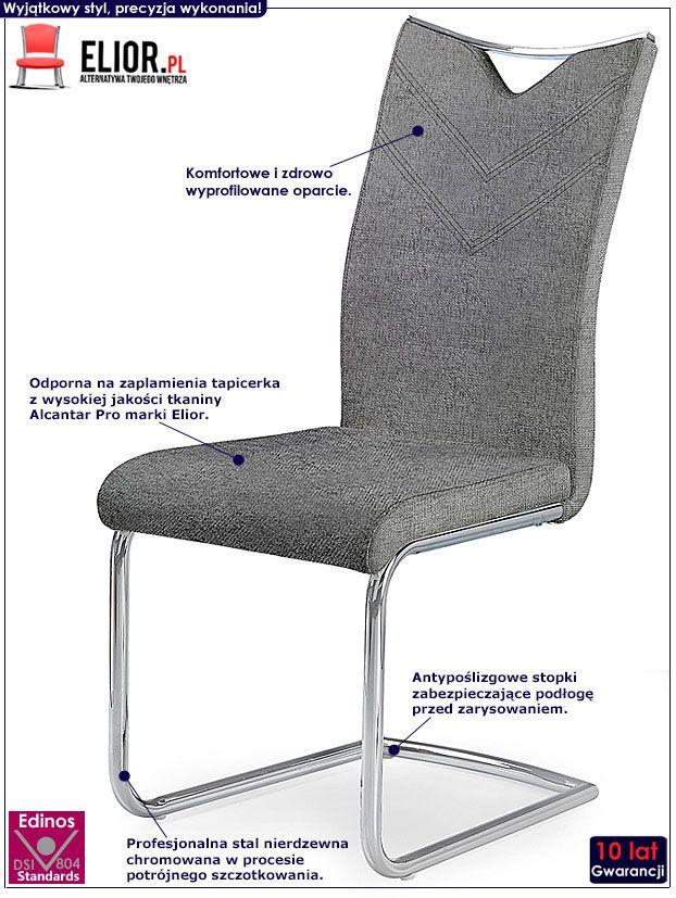 Popielate krzesło tapicerowane do kuchni Eldor 2X