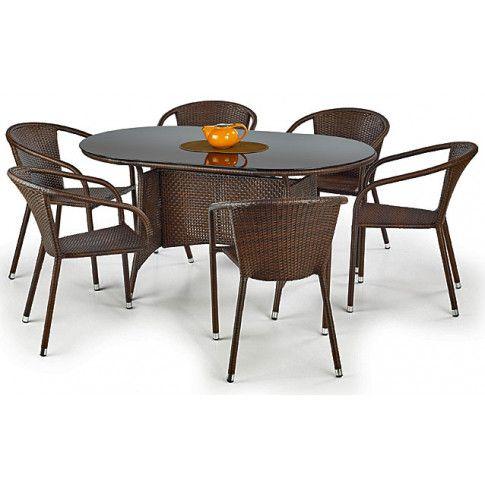 Zdjęcie produktu Szklany stół ogrodowy Lukka - brązowy.