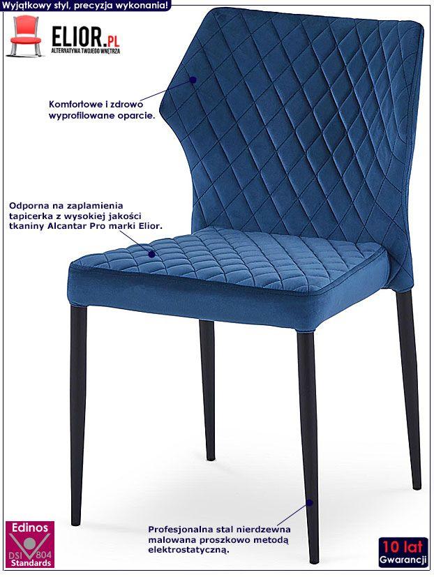 Granatowe krzesło pikowane do salonu Lenton