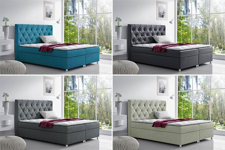 Tapicerowane łóżko kontynentalne z pojemnikiem na pościel Clara