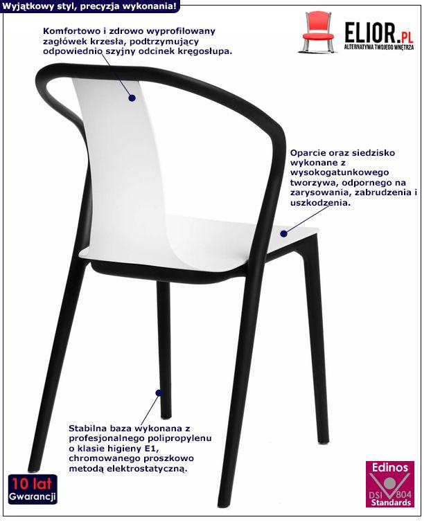 Designerskie krzesło Emeli - białe