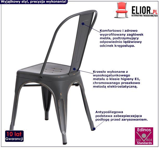 Loftowe krzesło Kimmi 4X - szare