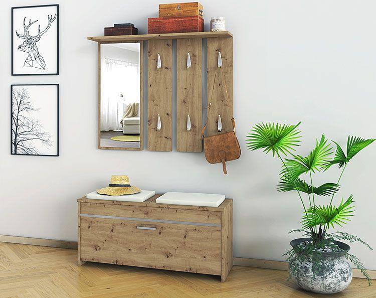 Loftowa szafka na buty z lustrem i wieszakiem Avila