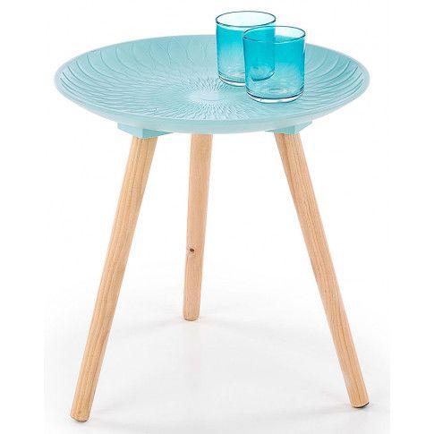Zdjęcie produktu Drewniany stolik kawowy Essa - turkusowy.