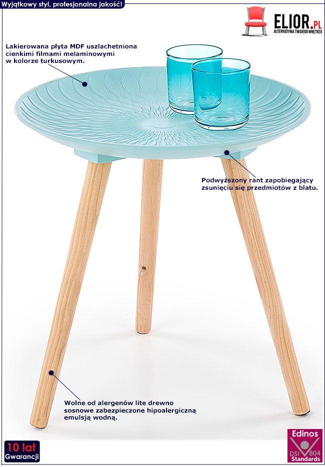 Turkusowy stolik minimalistyczny Essa