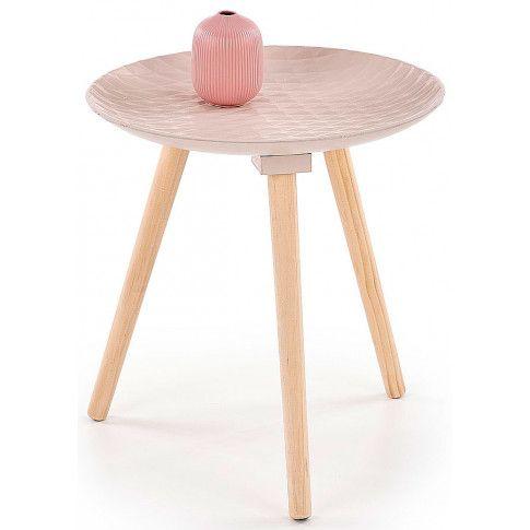 Zdjęcie produktu Drewniany stolik kawowy Essa - pudrowy róż.