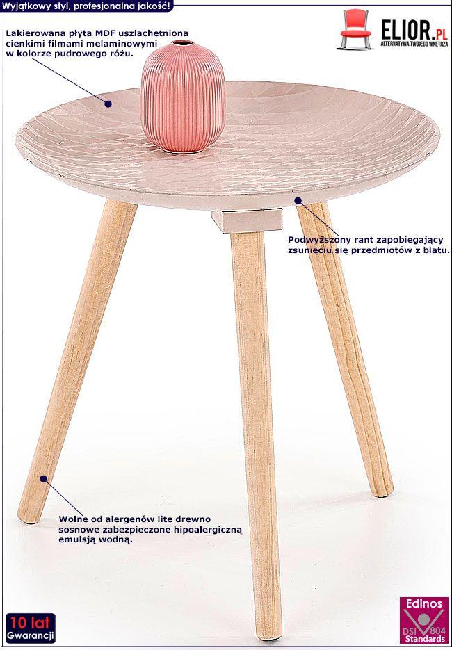 Drewniany stolik do salonu pudrowy róż Essa