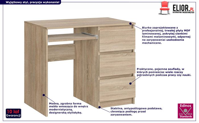 Stylowe biurko Luvio - dąb sooma