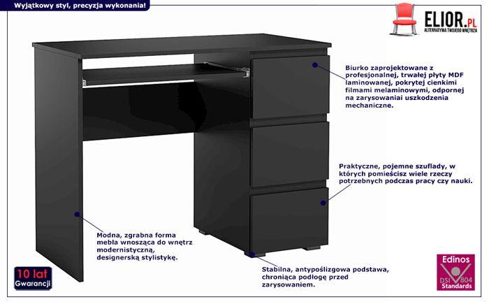 Eleganckie biurko Luvio - czarne