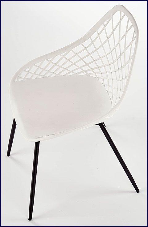 Białe krzesło minimalistyczne do salonu Inder