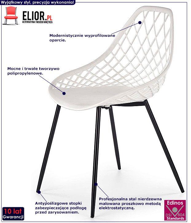 Białe krzesło druciane do jadalni Inder