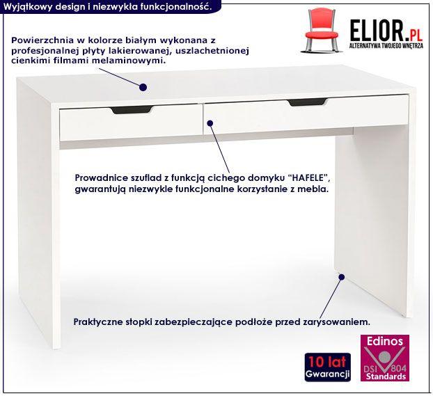 Lakierowane białe biurko z szufladami Foxim