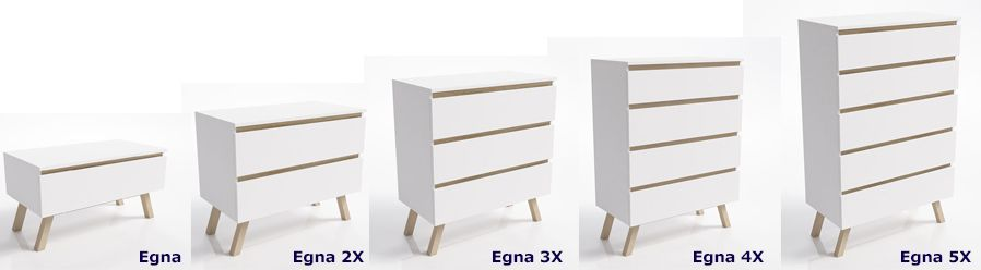 Skandynawskie komody Egna - białe