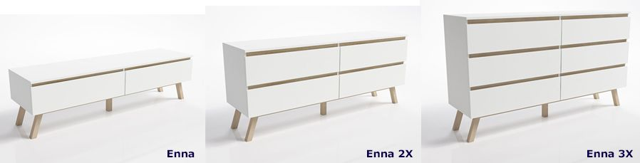 Skandynawskie komody Enna - białe + buk