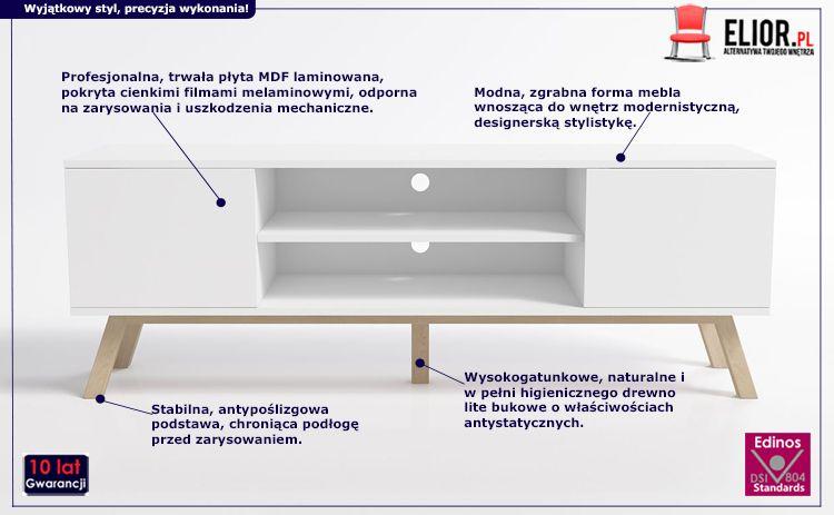 Biała szafka RTV Ukla - modna