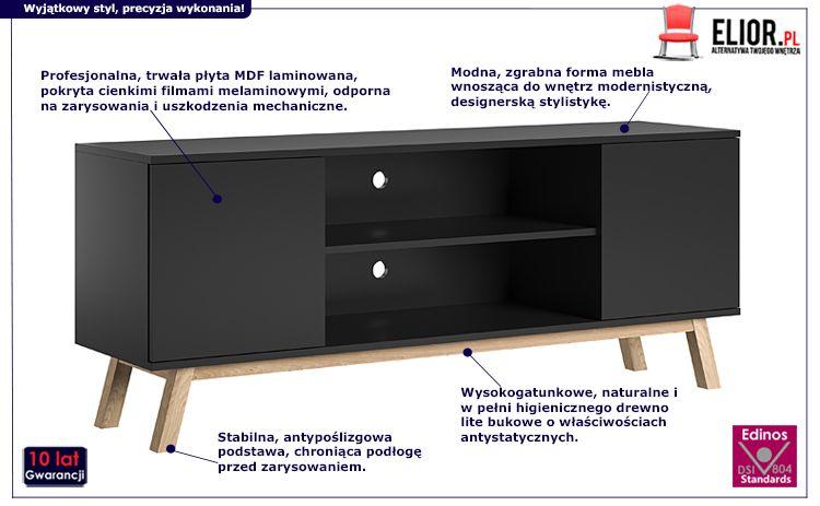 Elegancka szafka RTV - czarna